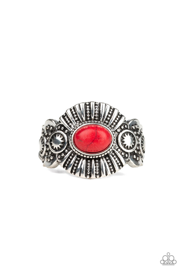 Paparazzi Thirst Quencher - Red Stone - Silver - Dainty Band Ring - Lauren's Bling $5.00 Paparazzi Jewelry Boutique