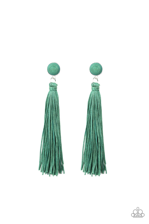Paparazzi Tightrope Tassel - Green - Cording Thread / Tassel / Fringe - Post Earrings