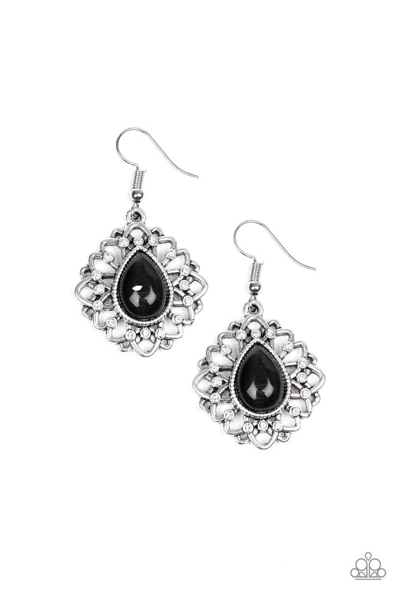 Paparazzi Totally GLOWN Away - Black - Cat's Eye Teardrop - White Rhinestones Earrings