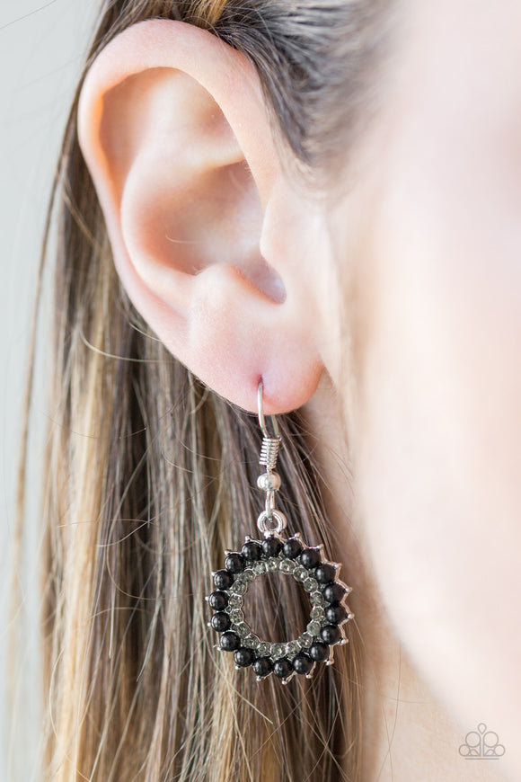 Paparazzi A Proper Lady - Black Beads - Silver Earrings - Lauren's Bling $5.00 Paparazzi Jewelry Boutique