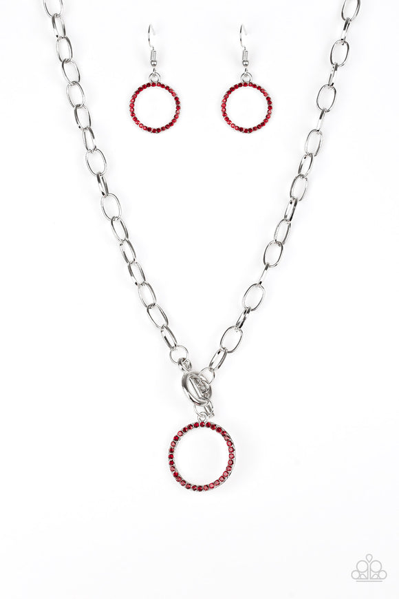 Paparazzi All In Favor - Red Rhinestones - Necklace and matching Earrings - Lauren's Bling $5.00 Paparazzi Jewelry Boutique