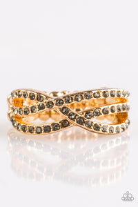 Paparazzi CACHE Advance - Gold - Smoky Rhinestones - Ring - Lauren's Bling $5.00 Paparazzi Jewelry Boutique