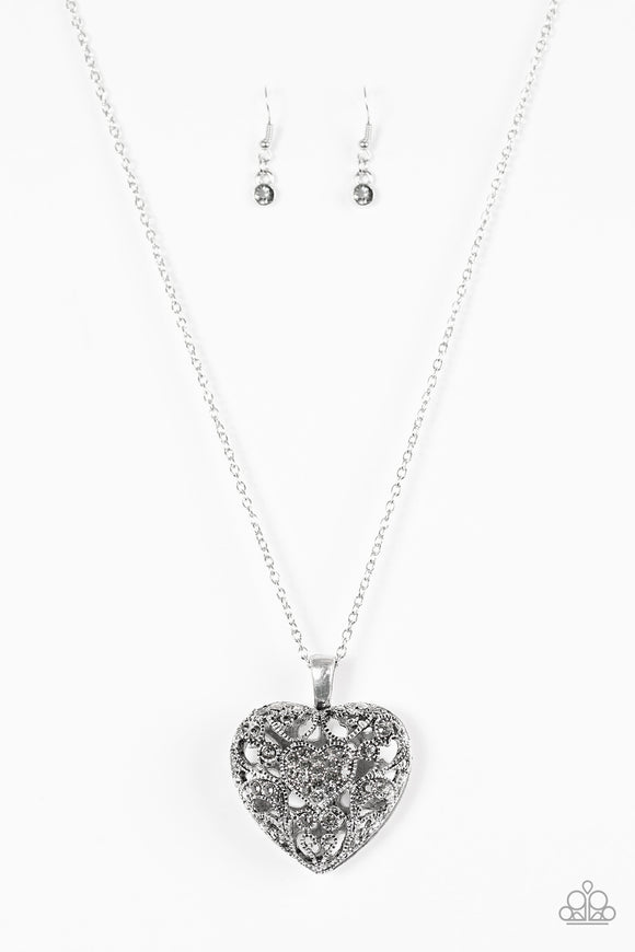 Paparazzi Heartless Heiress - Silver Rhinestones - Heart - Necklace and matching Earrings - Lauren's Bling $5.00 Paparazzi Jewelry Boutique