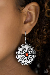 Paparazzi I'm No Wallflower - Orange Center - Silver Petals - Hammered Texture - Earrings - Lauren's Bling $5.00 Paparazzi Jewelry Boutique