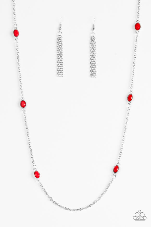 In Season - Red Necklace - Lauren's Bling $5.00 Paparazzi Jewelry Boutique
