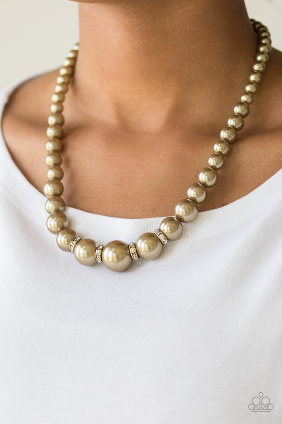Paparazzi Party Pearls - Brass Pearls - White Rhinestones - Necklace & Earrings - Lauren's Bling $5.00 Paparazzi Jewelry Boutique