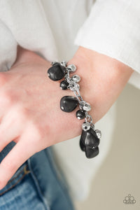Paparazzi Practical Paleo - Black Stones - Double Chain Silver Bracelet - Lauren's Bling $5.00 Paparazzi Jewelry Boutique