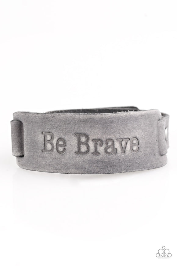 Paparazzi Put On A Brave Face - Silver Gray Leather -