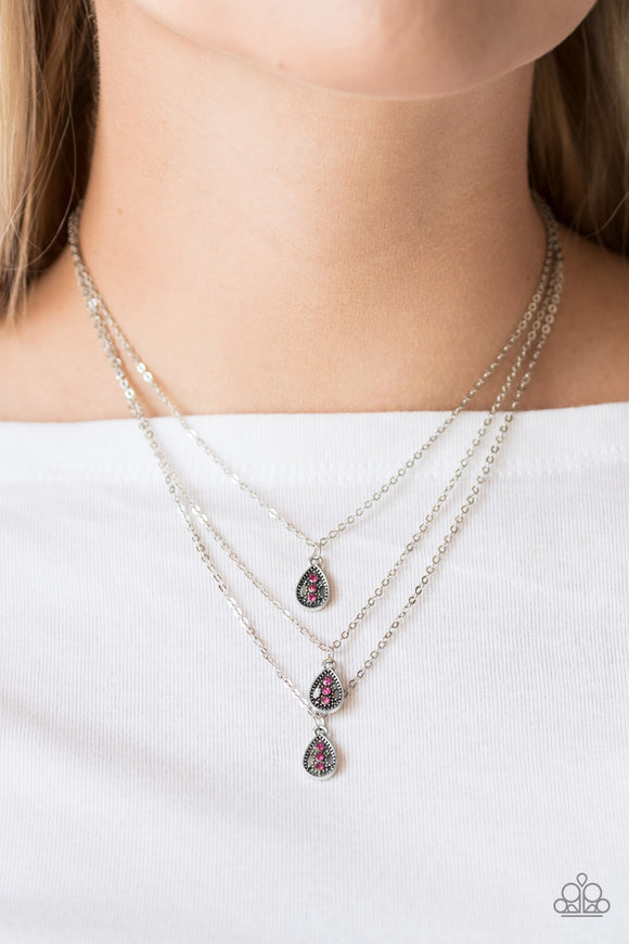 Paparazzi Radiant Rainfall - Pink Rhinestones - Silver Necklace & Earrings - Lauren's Bling $5.00 Paparazzi Jewelry Boutique