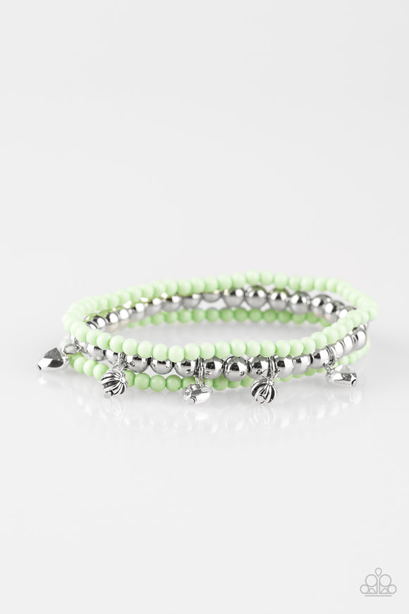 Paparazzi Springtime Sweethearts - Green - Silver Beads - Set of 3 Stretchy Bracelets - Lauren's Bling $5.00 Paparazzi Jewelry Boutique