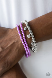 Paparazzi Springtime Sweethearts - Purple - Bracelet - Lauren's Bling $5.00 Paparazzi Jewelry Boutique