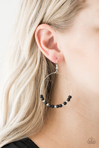 Paparazzi Stone Spa - Black - Stone Beads Slide Silver Hoop - Earrings - Lauren's Bling $5.00 Paparazzi Jewelry Boutique