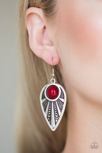 Paparazzi Take A WALKABOUT - Red Bead - Silver Ornate Teardrop Earrings - Lauren's Bling $5.00 Paparazzi Jewelry Boutique