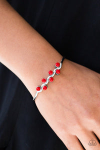 Paparazzi Tropical Tides - Red Beads - Silver Cuff Bracelet - Lauren's Bling $5.00 Paparazzi Jewelry Boutique