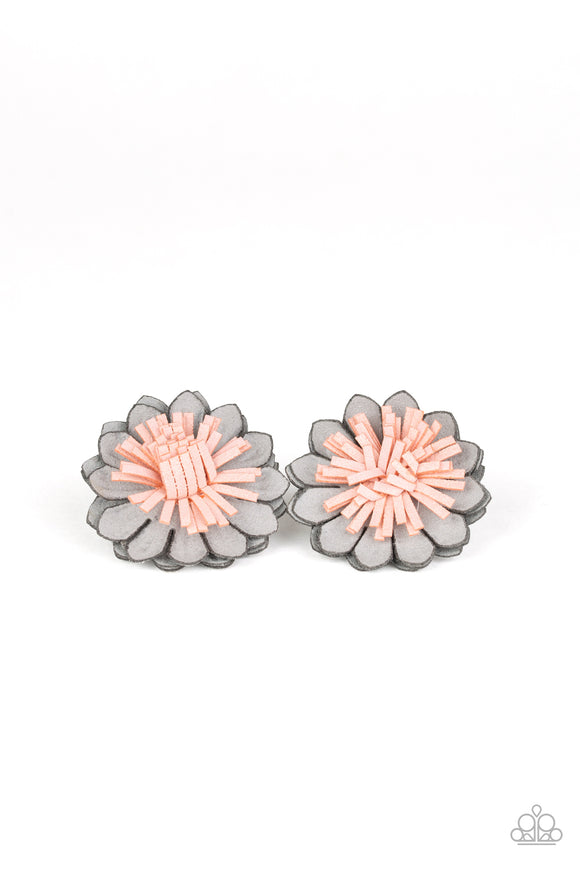 Paparazzi Blooming Bliss - Silver - Gray Blossom - Pink Suede - Pair of Hair Clips
