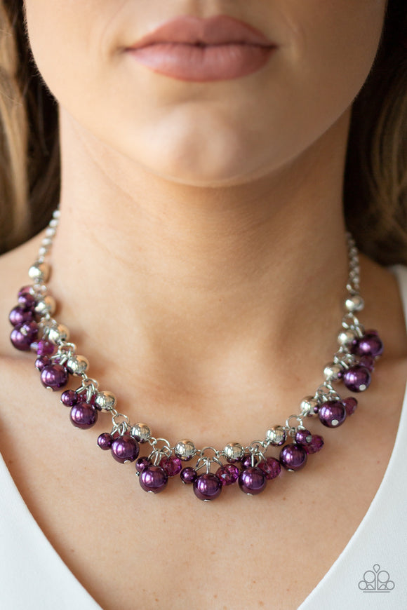 Paparazzi Duchess Royale - Purple Pearls - Silver Chain Necklace & Earrings - Lauren's Bling $5.00 Paparazzi Jewelry Boutique