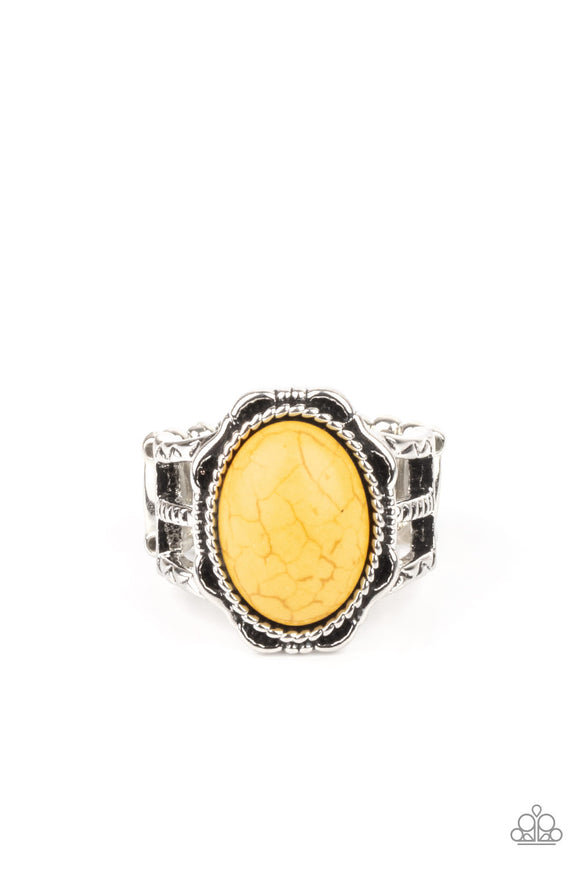 PRE-ORDER - Paparazzi Flowering Dunes - Yellow Stone - Ring