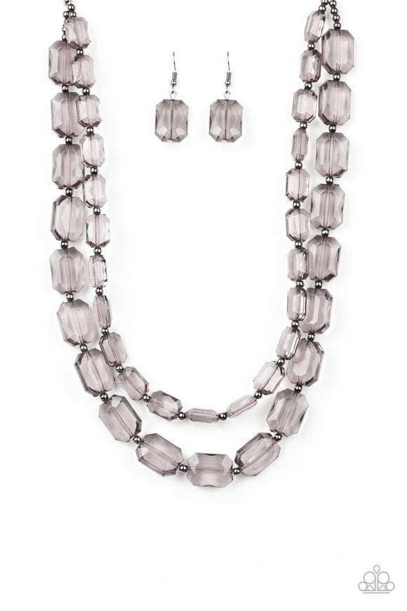 Paparazzi Ice Bank - Black - Gunmetal Emerald Cut Beads - Layered Acrylic Necklace and matching Earrings
