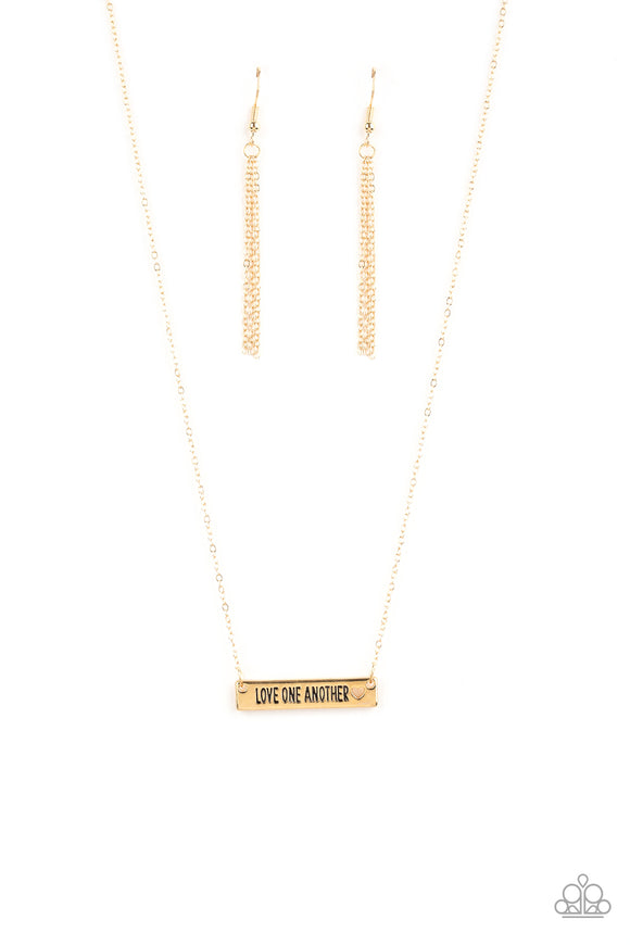 Paparazzi Love One Another - Gold - Inspirational Necklace and matching Earrings