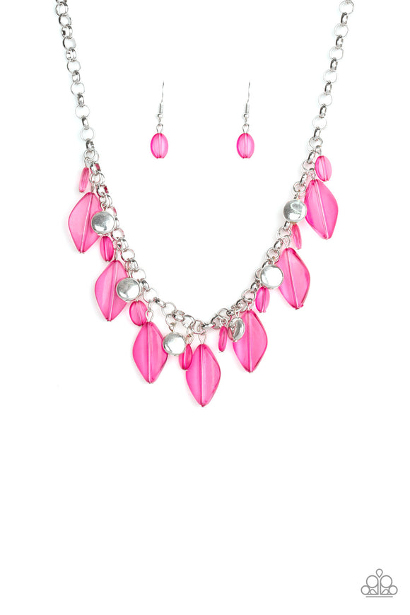 Paparazzi Malibu Ice - Pink Beads - Silver Chain Necklace and matching Earrings - Lauren's Bling $5.00 Paparazzi Jewelry Boutique