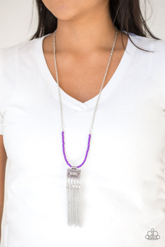 Paparazzi Mayan Masquerade - Purple Beads - Silver Fringe Chain Necklace and matching Earrings - Lauren's Bling $5.00 Paparazzi Jewelry Boutique