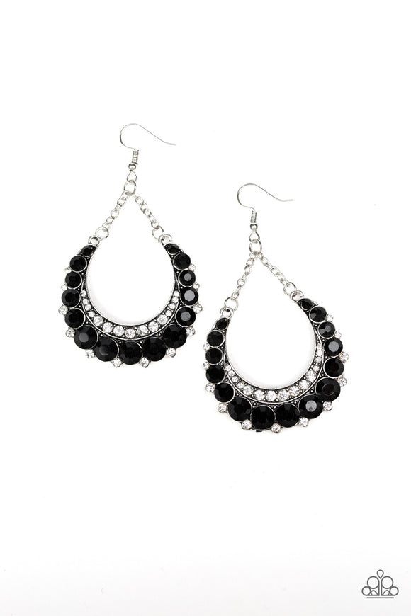 Paparazzi Once In A SHOWTIME - Black - Rhinestones - Silver Chain Earrings - Lauren's Bling $5.00 Paparazzi Jewelry Boutique