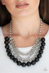 Paparazzi One-Way WALL STREET - Black - Silver Chains - Necklace and matching Earrings - Lauren's Bling $5.00 Paparazzi Jewelry Boutique