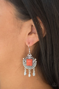 Paparazzi Open Pastures - Orange Stone - Ornate Silver Frame - Earrings - Lauren's Bling $5.00 Paparazzi Jewelry Boutique