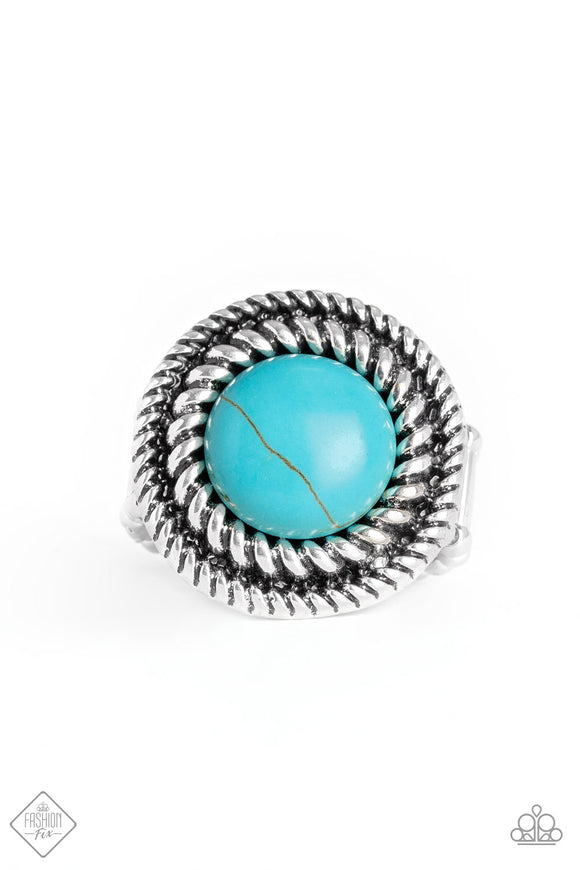 Paparazzi Rare Minerals - Blue Turquoise Stone - Ring - Fashion Fix Trend Blend Exclusive August 2019 - Lauren's Bling $5.00 Paparazzi Jewelry Boutique