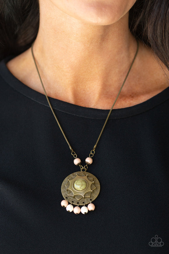 Paparazzi Santa Fe Garden - Multi Green Stone Center - Brass Pendant - Necklace and matching Earrings - Lauren's Bling $5.00 Paparazzi Jewelry Boutique