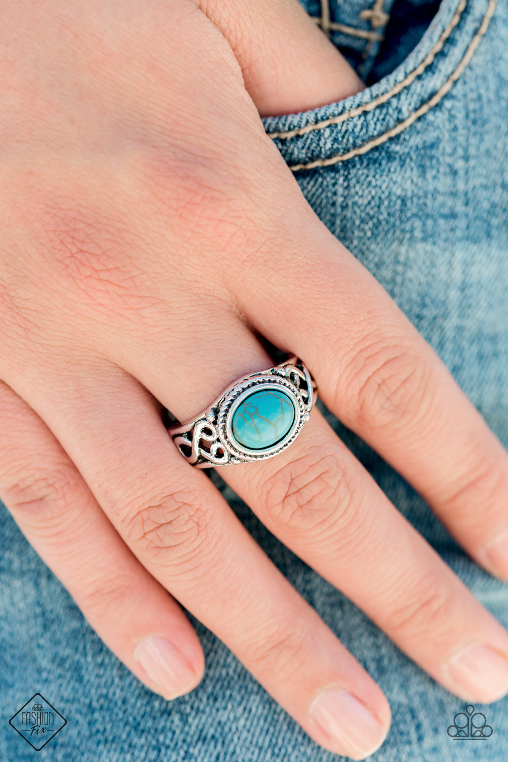Paparazzi Set In Stone Blue Turquoise Ring Trend Blend