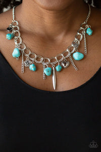 Paparazzi Southern Sweetheart - Blue Turquoise Rock Beads - Silver Heart, Rose, Lock Charms - Necklace & Earrings - Lauren's Bling $5.00 Paparazzi Jewelry Boutique