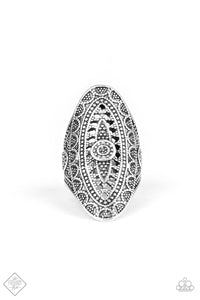 Paparazzi TRIBAL and Tribulation - Silver - Studded Filigree - Elongated Oval Ring - Fashion Fix Exclusive September 2019