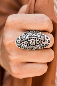 Paparazzi TRIBAL and Tribulation - Silver - Studded Filigree - Elongated Oval Ring - Fashion Fix Exclusive September 2019 - Lauren's Bling $5.00 Paparazzi Jewelry Boutique