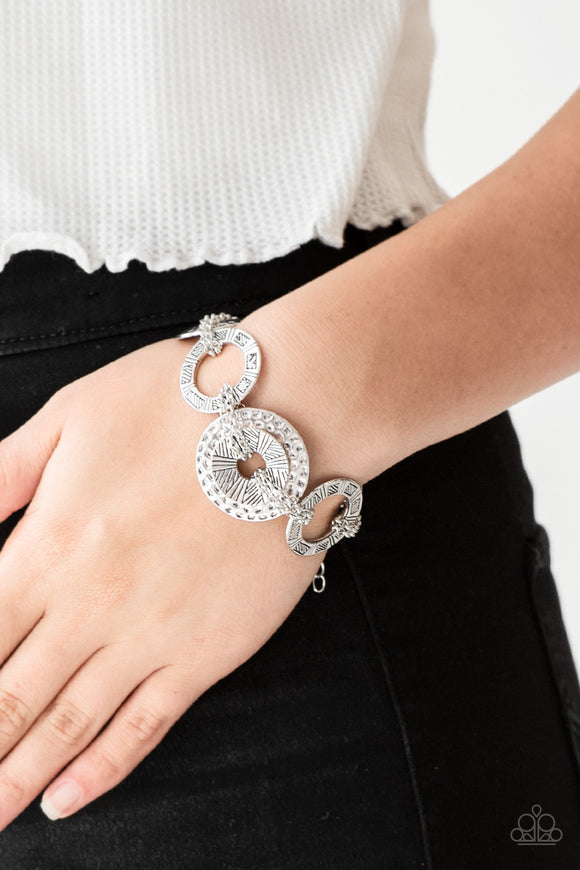 Paparazzi Way Wild - Silver - Stamped Hammered - Tightly Woven Chains - Bracelet