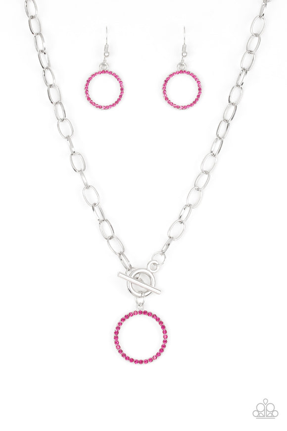 Paparazzi All In Favor - Pink Rhinestones - Necklace and matching Earrings - Lauren's Bling $5.00 Paparazzi Jewelry Boutique
