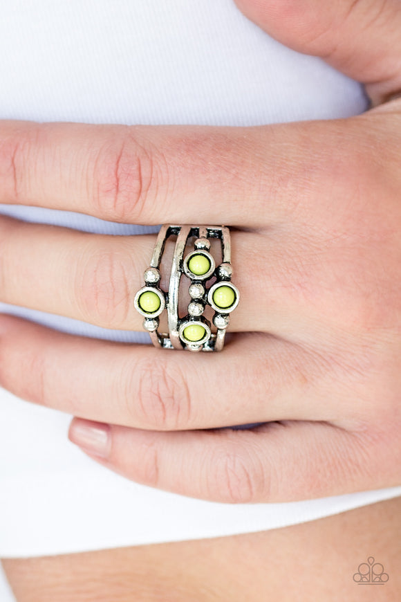 Paparazzi Beach House Party - Green Beads - Silver Band Ring - Lauren's Bling $5.00 Paparazzi Jewelry Boutique