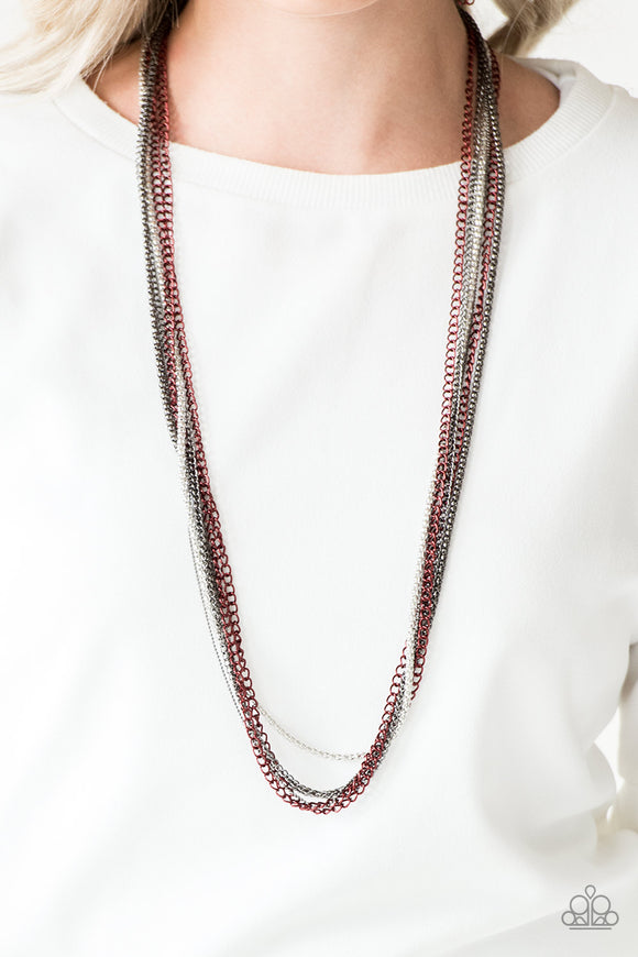 Paparazzi Colorful Calamity - Red Chains - Mismatched Gunmetal and Silver - Necklace and matching Earrings - Lauren's Bling $5.00 Paparazzi Jewelry Boutique