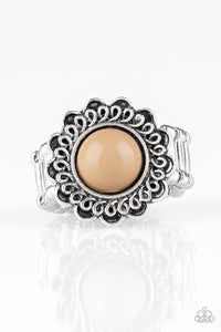 Paparazzi Garden Stroll - Brown Bead - Silver Floral Frame Swirling Detail - Ring - Lauren's Bling $5.00 Paparazzi Jewelry Boutique