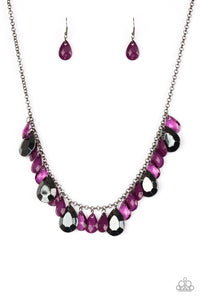 Paparazzi Hurricane Season - Purple Teardrops - Silver Chain Necklace and matching Earrings - Lauren's Bling $5.00 Paparazzi Jewelry Boutique