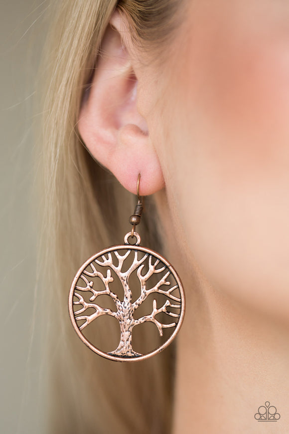 My TREEHOUSE Is Your TREEHOUSE - Copper - Tree of Life Earrings - Lauren's Bling $5.00 Paparazzi Jewelry Boutique
