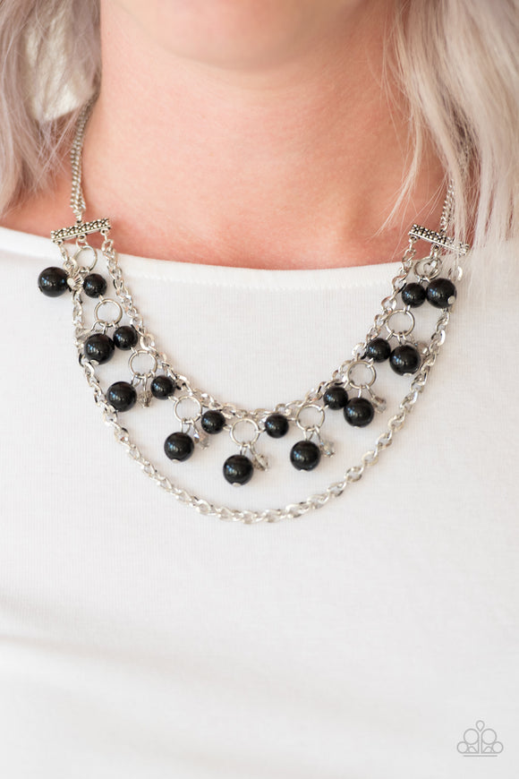 Paparazzi Rockefeller Romance - Black Beads - Silver Necklace and matching Earrings - Lauren's Bling $5.00 Paparazzi Jewelry Boutique