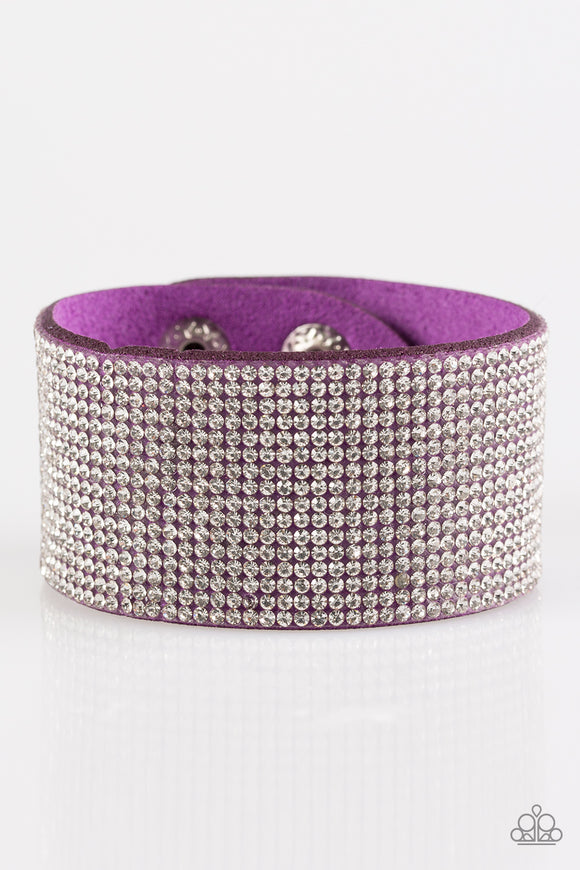 Paparazzi Roll With The Punches - Purple - White Rhinestones - Wrap / Snap Bracelet - Lauren's Bling $5.00 Paparazzi Jewelry Boutique