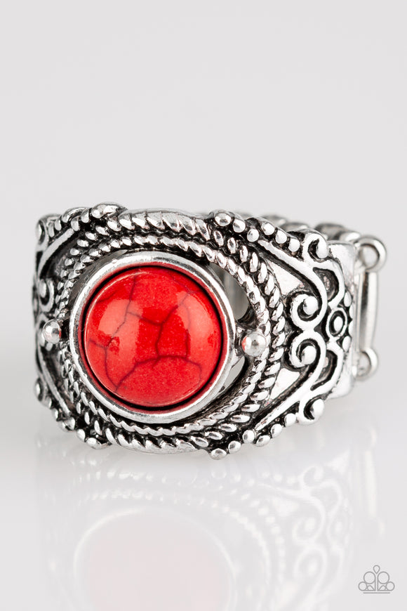 Paparazzi Stand Your Ground - Red Stone - Ornate Silver Ring - Lauren's Bling $5.00 Paparazzi Jewelry Boutique