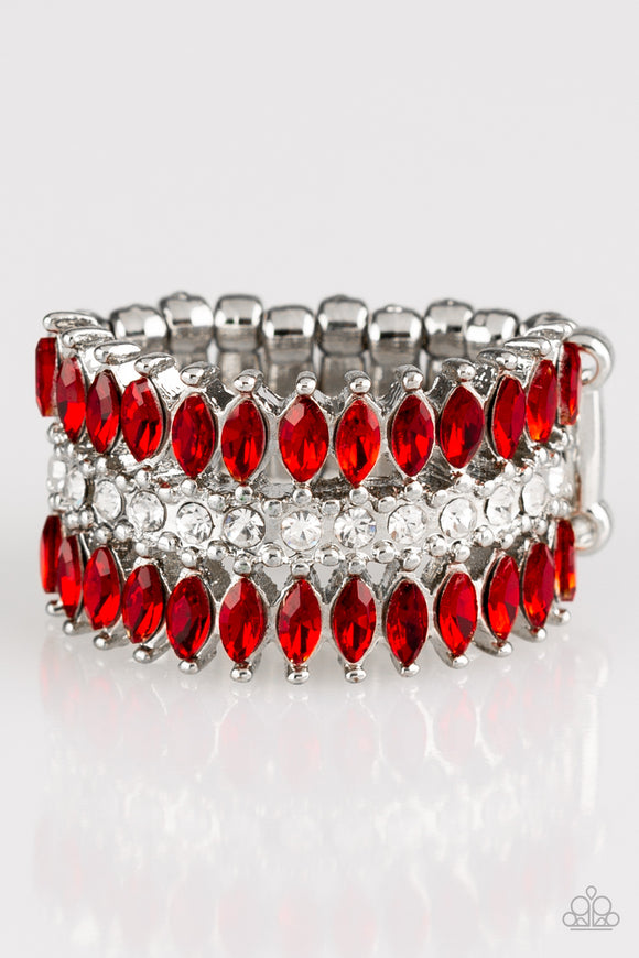 Paparazzi Treasury Fund - Red Rhinestones - Silver Ring - Lauren's Bling $5.00 Paparazzi Jewelry Boutique