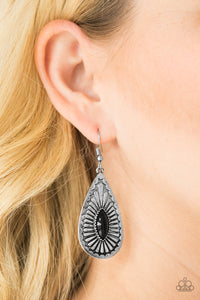 Paparazzi Wild Wilderness - Black - Bead - Silver Teardrop Earrings - Lauren's Bling $5.00 Paparazzi Jewelry Boutique