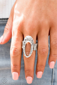 Paparazzi Artsy Artisan - Silver - Hammered Abstract Oval - Ring - Fashion Fix Exclusive September 2019 - Lauren's Bling $5.00 Paparazzi Jewelry Boutique