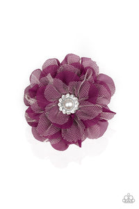 Paparazzi Bayou Blooms - Purple - Chiffon and Lacy White Petals - Pearl Rhinestone - Hair Clip Bow