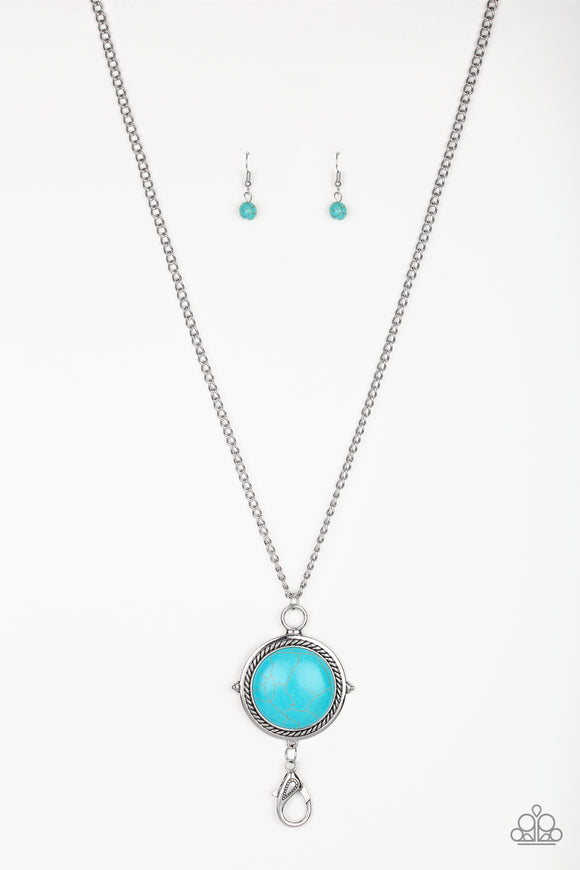 Paparazzi Desert Equinox - Blue Turquoise Stone - Lanyard - Necklace and matching Earrings - Lauren's Bling $5.00 Paparazzi Jewelry Boutique