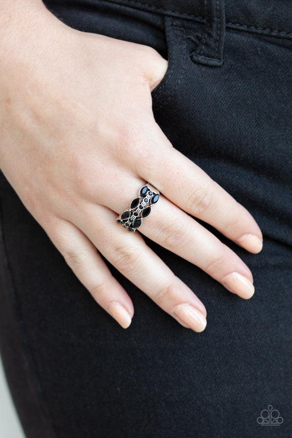 Paparazzi Distractingly Demure - Black - Marquise Rhinestones - Dainty Stretchy Band Ring - Lauren's Bling $5.00 Paparazzi Jewelry Boutique